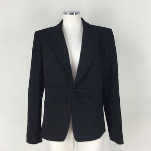 Lafayette 148 NY 10 Black 100% wool Blazer Ruched